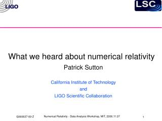 What we heard about numerical relativity