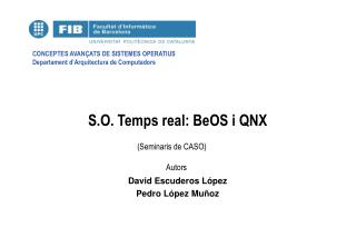 S.O. Temps real: BeOS i QNX