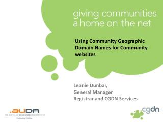 Using Community Geographic Domain Names for Community websites