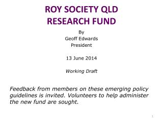 ROY SOCIETY QLD RESEARCH FUND