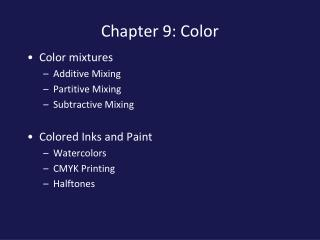 Chapter 9: Color