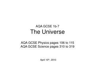 AQA GCSE 1b-7 The Universe