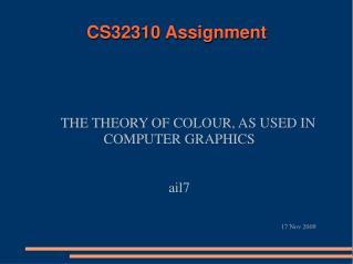 CS32310 Assignment