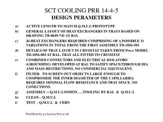 SCT COOLING PRR 14-4-5 DESIGN PERAMETERS