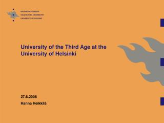 University of the Third Age at the University of Helsinki