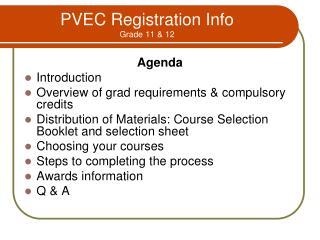 PVEC Registration Info Grade 11 & 12