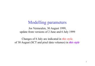 Modelling parameters
