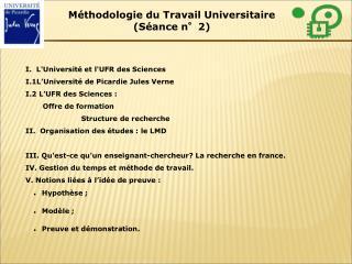 I.  L'Université et l'UFR des Sciences I.1 L'Université de Picardie Jules Verne