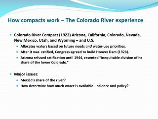 How compacts work � The Colorado River experience
