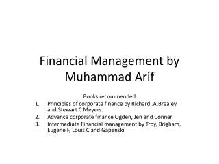 Financial Management by Muhammad Arif