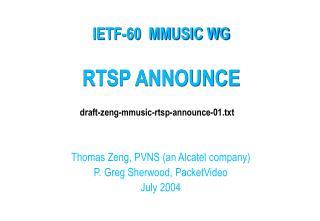 RTSP ANNOUNCE
