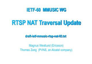 RTSP NAT Traversal Update