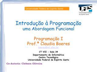 Introdução à Programação  uma Abordagem Funcional Programação I Prof.ª Claudia Boeres