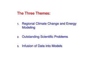 The Three Themes: Regional Climate Change and Energy Modeling Outstanding Scientific Problems