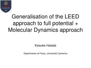 Generalisation of the LEED approach to full potential + Molecular Dynamics approach