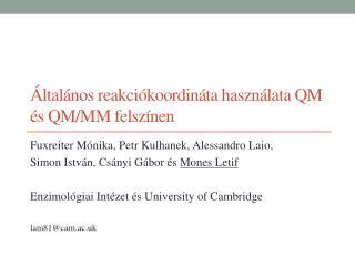 Általános reakciókoordináta használata QM és QM/MM felszínen