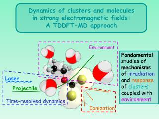 Dynamics of clusters and molecules in strong electromagnetic fields: A TDDFT-MD approach
