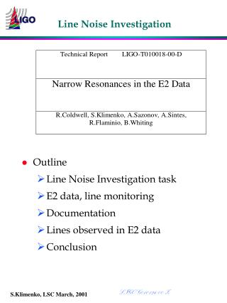 Line Noise Investigation