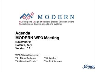 Agenda MODERN WP3 Meeting November 9  Catania, Italy Version: 0.2