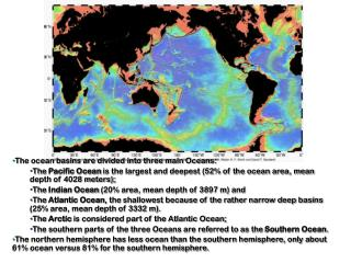 The ocean basins are divided into three main Oceans: