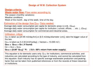 Design of W.W. Collection System