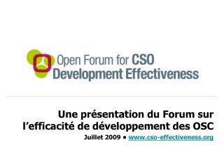 Une pr�sentation du Forum sur l�efficacit� de d�veloppement des OSC