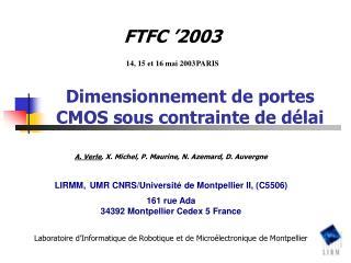 Dimensionnement de portes CMOS sous contrainte de délai
