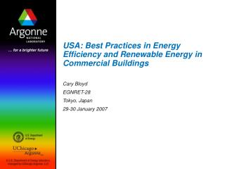 USA:  Best Practices in Energy Efficiency and Renewable Energy in Commercial Buildings