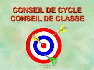CONSEIL DE CYCLE CONSEIL DE CLASSE