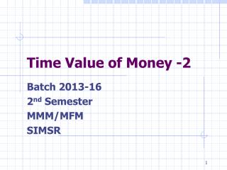 Time Value of Money -2