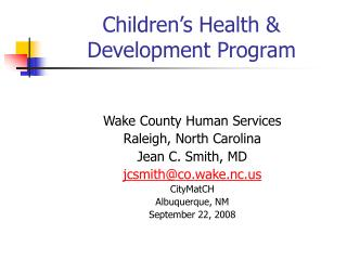 Children's Health & Development Program