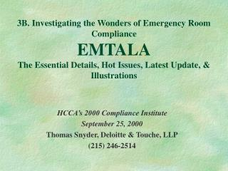 HCCA's 2000 Compliance Institute September 25, 2000 Thomas Snyder, Deloitte & Touche, LLP