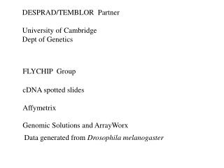 DESPRAD/TEMBLOR  Partner  University of Cambridge Dept of Genetics