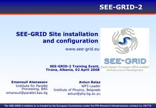 SEE-GRID Site installation and configuration