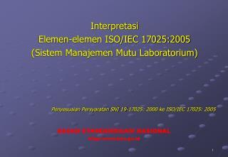 Interpretasi  Elemen-elemen ISO