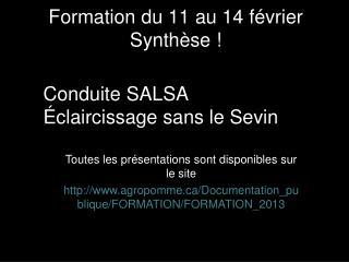 Formation du 11 au 14 f�vrier Synth�se !