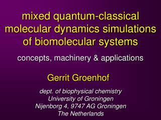 mixed quantum-classical molecular dynamics simulations of biomolecular systems