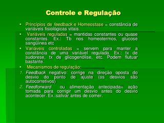Controle e Regulação