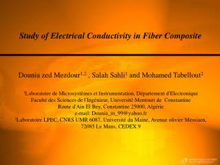 Study of Electrical Conductivity in Fiber Composite