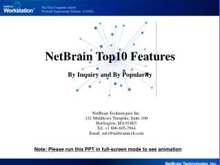NetBrain Technologies Inc. 121 Middlesex Turnpike, Suite 100 Burlington, MA 01803