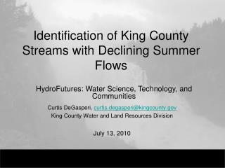 Identification of King County Streams with Declining Summer Flows