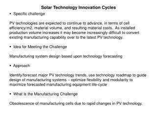 Solar Technology Innovation Cycles