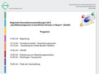 Regionale Informationsveranstaltungen 2010