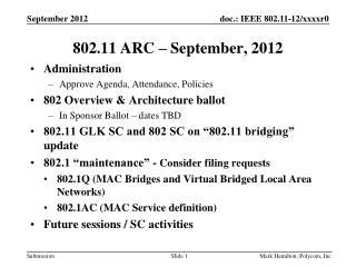802.11 ARC – September, 2012