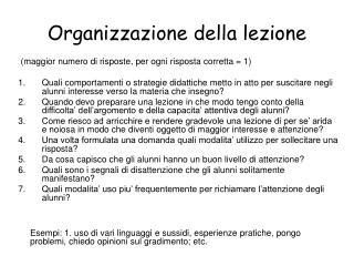 Organizzazione della lezione