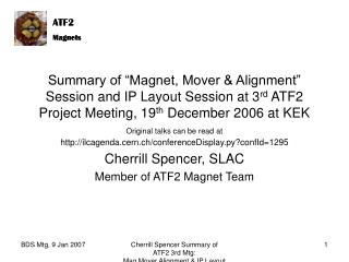 Cherrill Spencer, SLAC Member of ATF2 Magnet Team