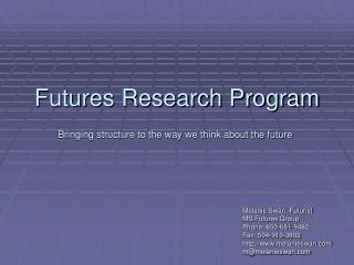Futures Research Program