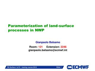 Parameterization of land-surface processes in NWP