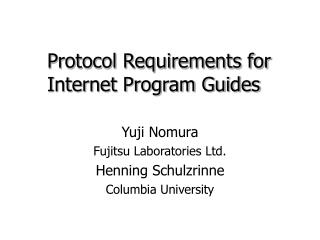 Protocol Requirements for Internet Program Guides