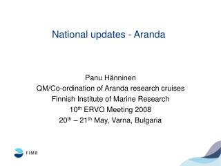 National updates - Aranda